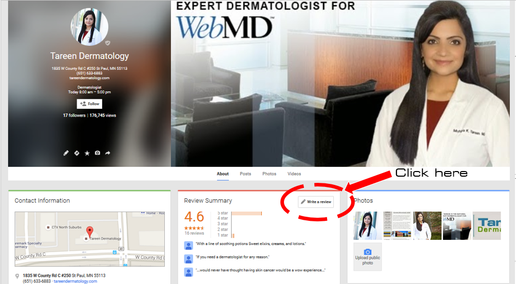 Google Plus Tareen Dermatology Review Screenshot