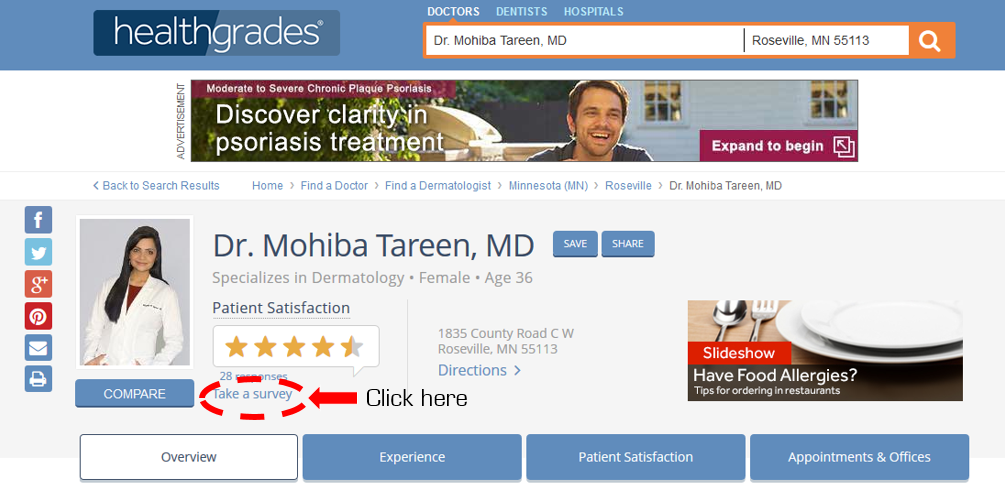 HealthGrades Tareen Dermatology Review Screenshot