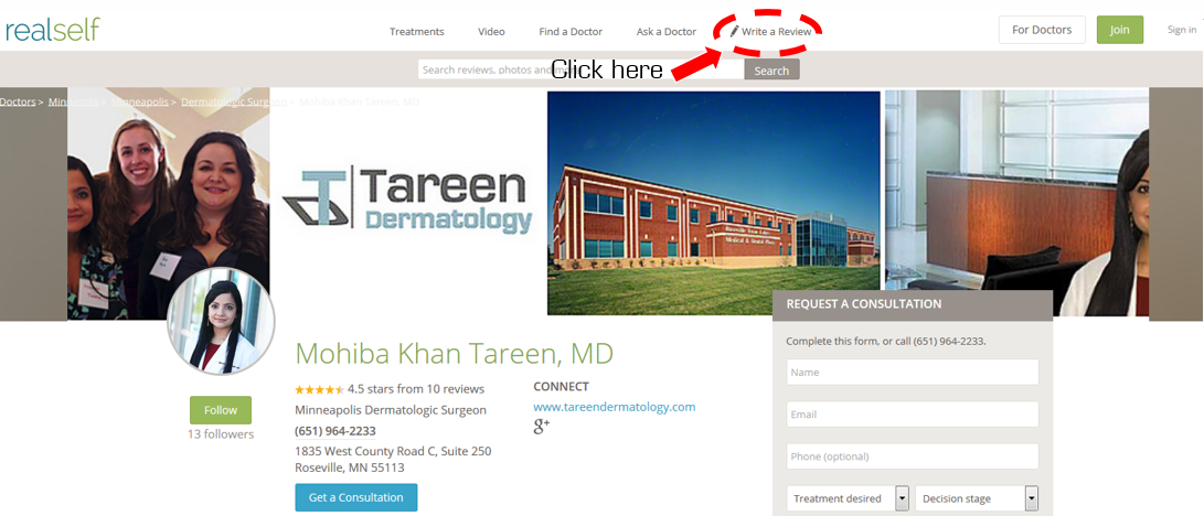 RealSelf Tareen Dermatology Review Screenshot